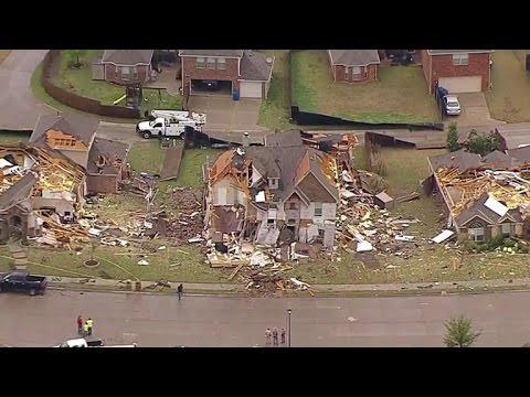 Tornadoes and hail tear through Texas, Oklahoma
