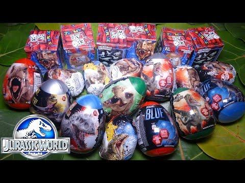 Opening 20 Dinosaur SURPRISE EGGS! Jurassic World Chocolate / Toy / Candy eggs