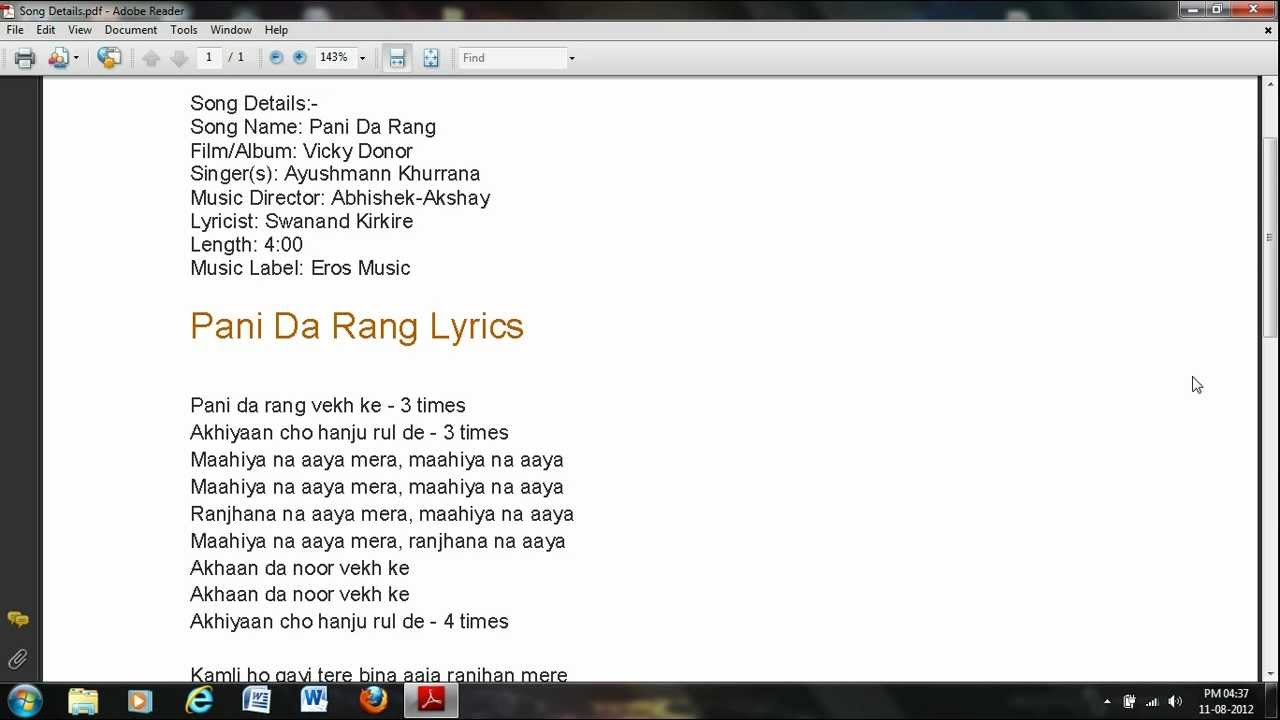 Pani Da Rang (Full Video Song) | Vicky Donor + MP3, Lyrics ...