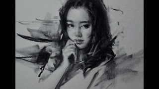 Drawing Portrait with charcoal by Zhu Kai Master Artist