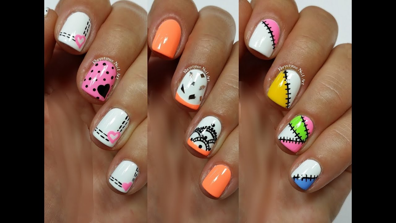 3 easy nail art designs for short nails freehand 3