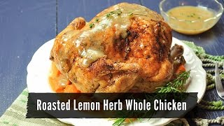 Roasted Lemon Herb Whole Chicken with Carrots and Onions