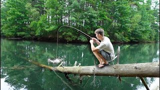 BACKWOODS BASS FISHING -- (Exploring SECRET Woodland Reservoir)