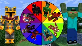 DANGEROUS WHEEL OF FORTUNE WITH EVIL SUPERHEROES!! DONT SPIN THE WRONG WHEEL!! Minecraft Mods