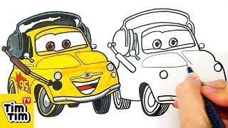 How to draw CARS 2 LUIGI | Easy step-by-step for kids | Art colors