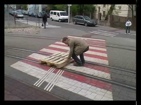 Riding A Pallet Down A Tram Track