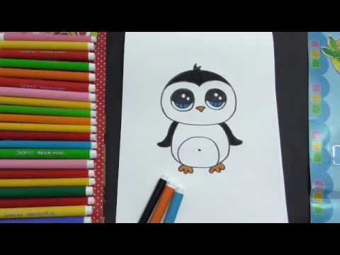 تعليم الرسم للاطفال كيفية رسم بطريق كيوت للاطفال How To Draw