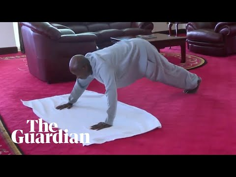 Ugandan president makes home workout video encouraging citizens to exercise indoors