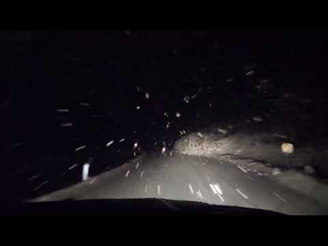 Virtual Drive Through Snow Blizzard In The Night / Sound Of Wind And Falling Snow