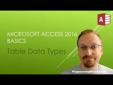 3. Microsoft Access 2016 Basics: Table Data Types