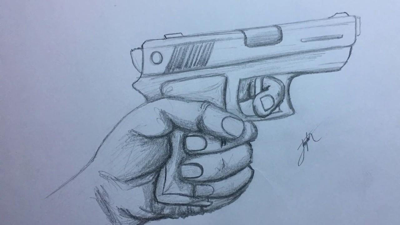 Hızlandırılmış Karakalem Silah Tutan El çizimi Youtube