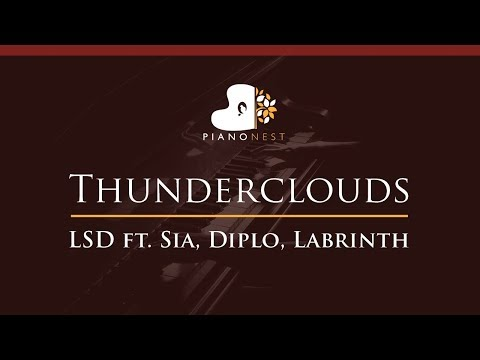 LSD - Thunderclouds Ft. Sia, Diplo, Labrinth - HIGHER Key (Piano Karaoke / Sing Along)
