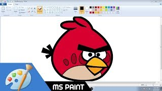 How to Draw Red Angry Bird in MS Paint from Scratch!