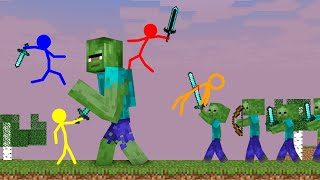 Stickman VS Minecraft: Giant Zombie Apocalypse School - AVM Shorts Animation