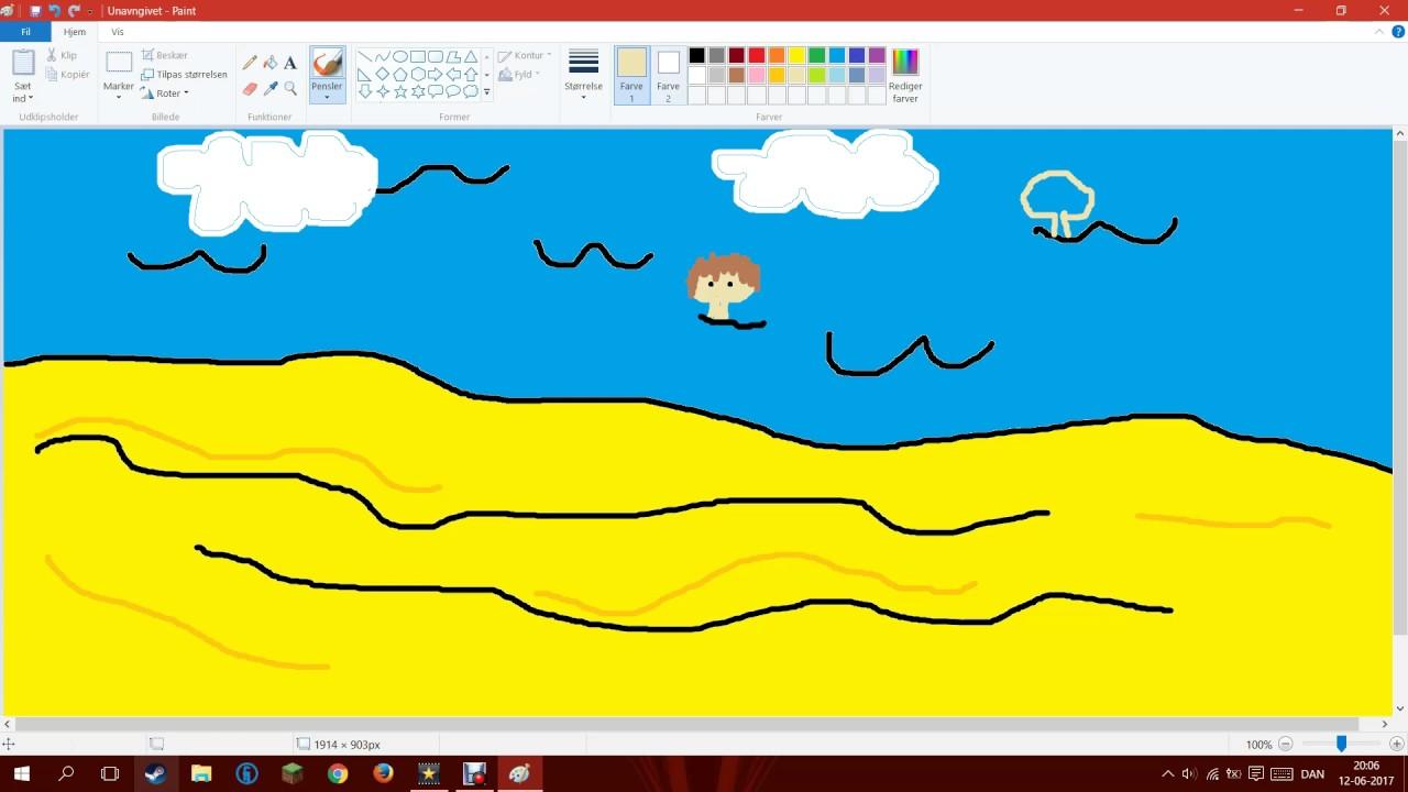 Tegner glade børn på stranden - paint