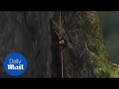 Norwegian daredevil on 1,000 m high tightrope