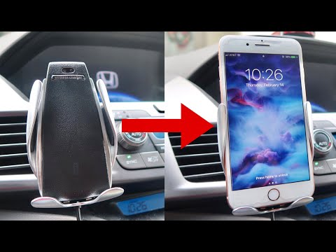 coolest-wireless-car-charger-mount-review---auto-clamp-gravity-sensor