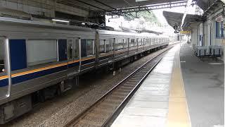 JR神戸線 塩屋駅1番ホームから207系普通が発車 2番ホームに207系普通が到着&発車