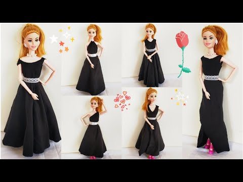 How to Make No Sew No Glue Doll Dresses/DIY Barbie Clothes No Sew No Glue/Very Easy Barbie Clothes
