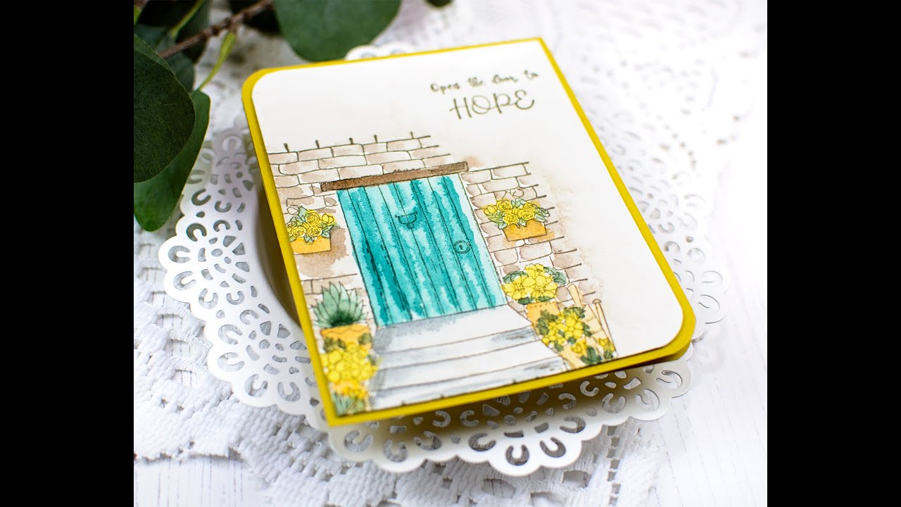 Watercolored Front Door Card