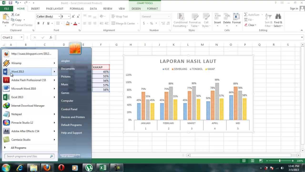 Cara Membuat Grafik Pada Ms Excel 2013 - YouTube