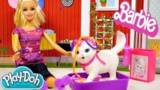 Barbie Potty Trainin' Blissa Pet Cat Play Doh Barbie Dolls Toys Review by Disney Cars Toy Club