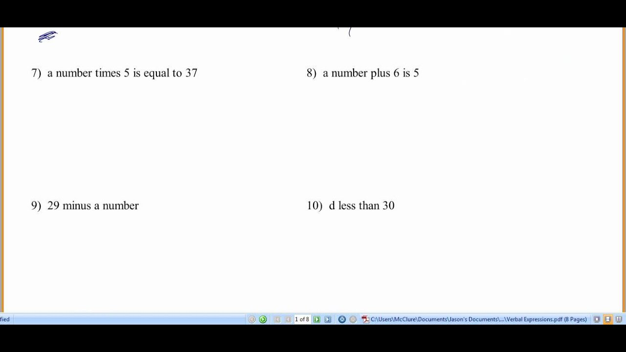 worksheet Write Algebraic Expressions Worksheet pre algebra translating verbal expressions wmv youtube wmv