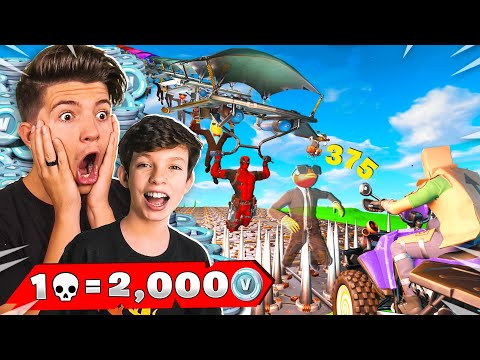 1 Elimination = 2,000 VBucks With My Little Brother! (Fortnite Chapter 2)