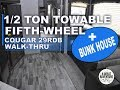 1/2 ton towable 5th wheel with a bunk-house! Check out the Cougar 29RDB