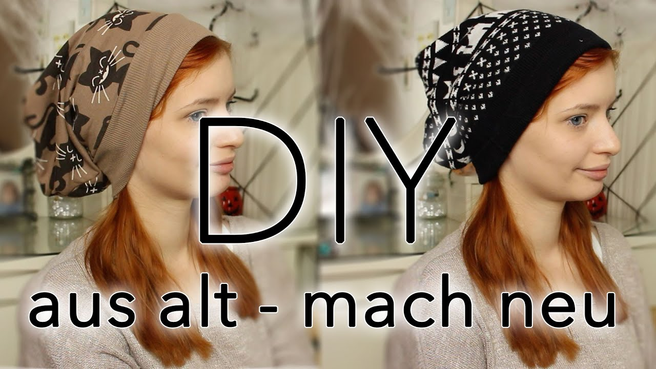 Beanie nhen DIY Do it Yourself  Aus alt mach neu  Pulli zu Beanie  YouTube