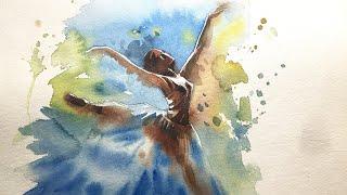 Watercolor Painting of Ballet Dancer.