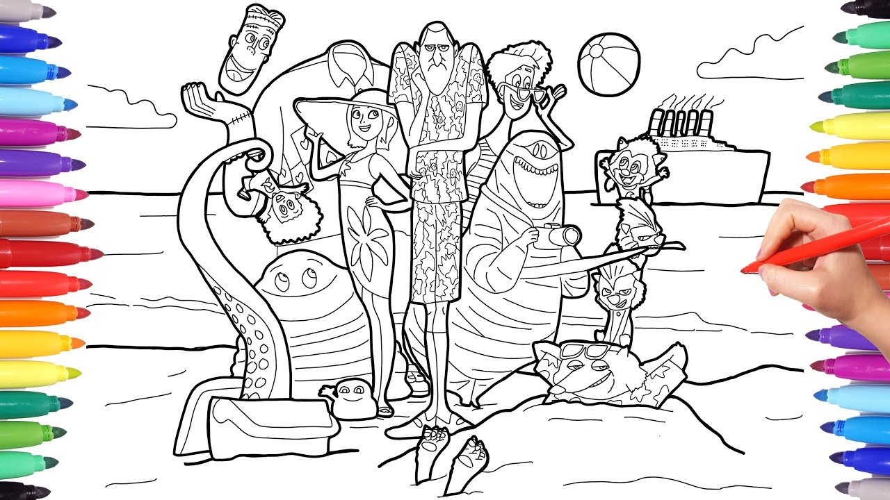 How to Color Hotel Transylvania 3 Summer Vacation Poster, Hotel Transylvania Coloring Pages for Kids