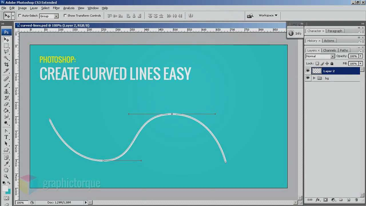 Drawing Lines Shapes Or Text On Bitmaps : How to draw curved lines in photoshop youtube