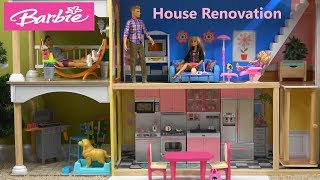 Barbie and Ken Story: Barbie House Renovation with New Barbie Kitchen, Living Room and Studio