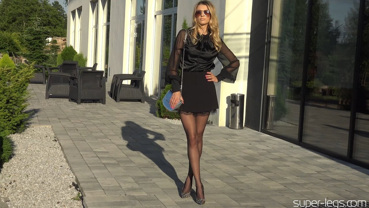 Super Legs - Leather high heels , mini dress , black pantyhose lookbook (Polanski high heels)