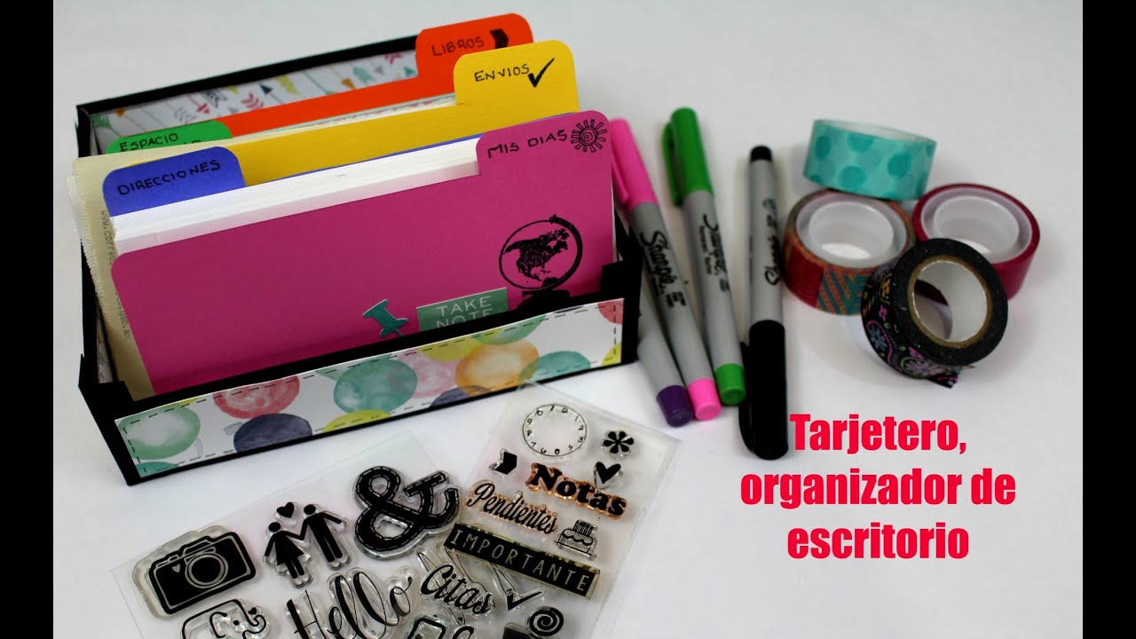 Como hacer un tarjetero organizador de escritorio youtube - Organizador escritorio ...