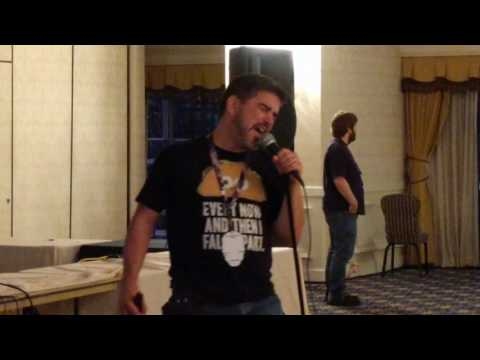 Matthew belting it out at Defcon's hacker karaoke