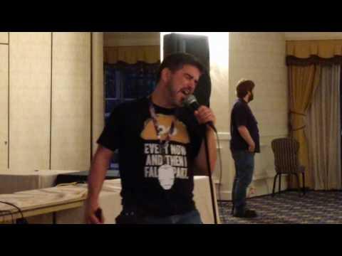 Matthew belting it out at Defcon's hacker karaoke
