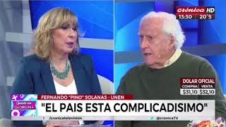 Pino Solanas con Georgina Barbarrossa en Cronica TV