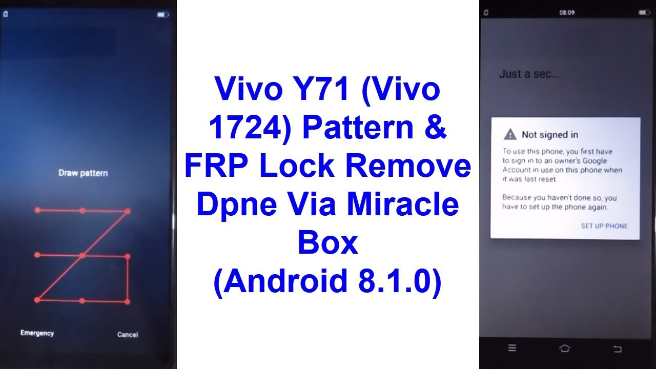 Vivo Y71 (Vivo 1724) Pattern, Password & FRP Lock Remove Done Via Miracle  Box (Android 8 1 0)