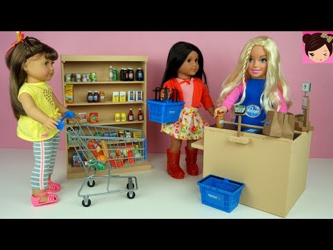 Barbie Supermarket Grocery Store with AG Dolls Shopping Cart Play Toys Video