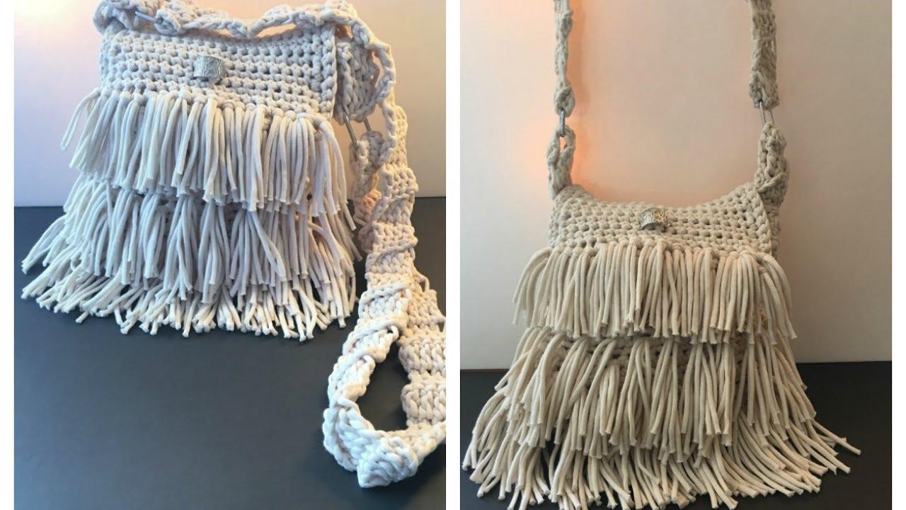 Como hacer asa de bolso con flecos tejido a crochet - Como hacer bolsos tejidos ...