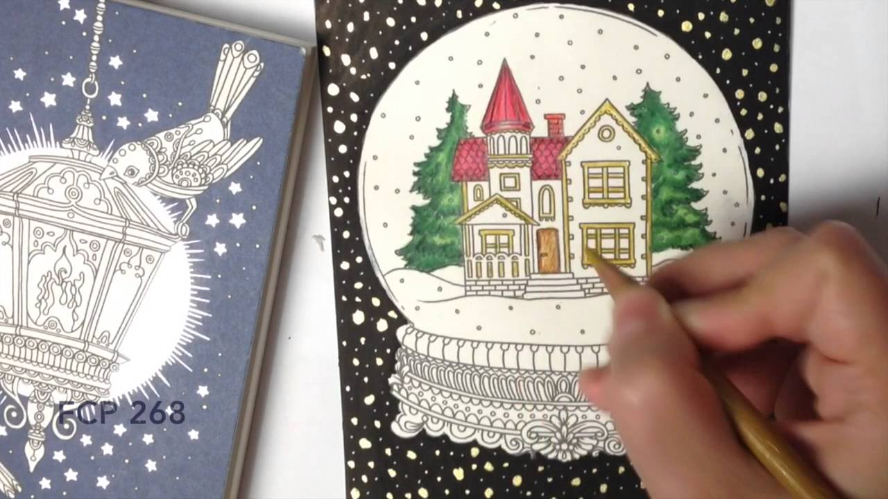 How to color - Snow Globe - coloring with colored pencils - YouTube