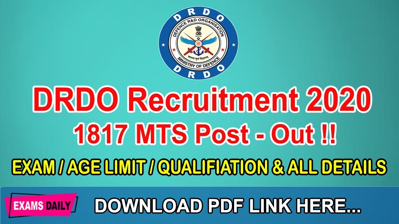Download DRDO Recruitment 2020 OUT || Apply Online for 1817 MTS Post || Examsdaily