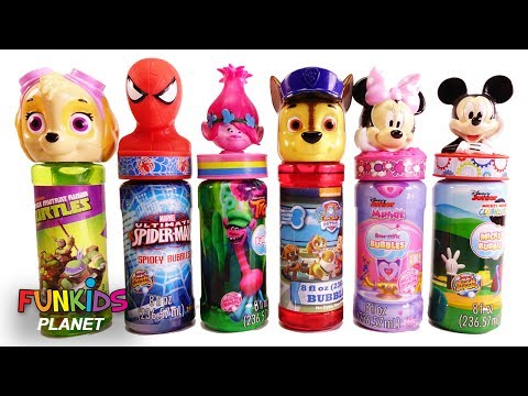 Learning Colors for Kids: Paw Patrol Skye & Chase w/ Shimmer & Shine and Mickey Bubbles