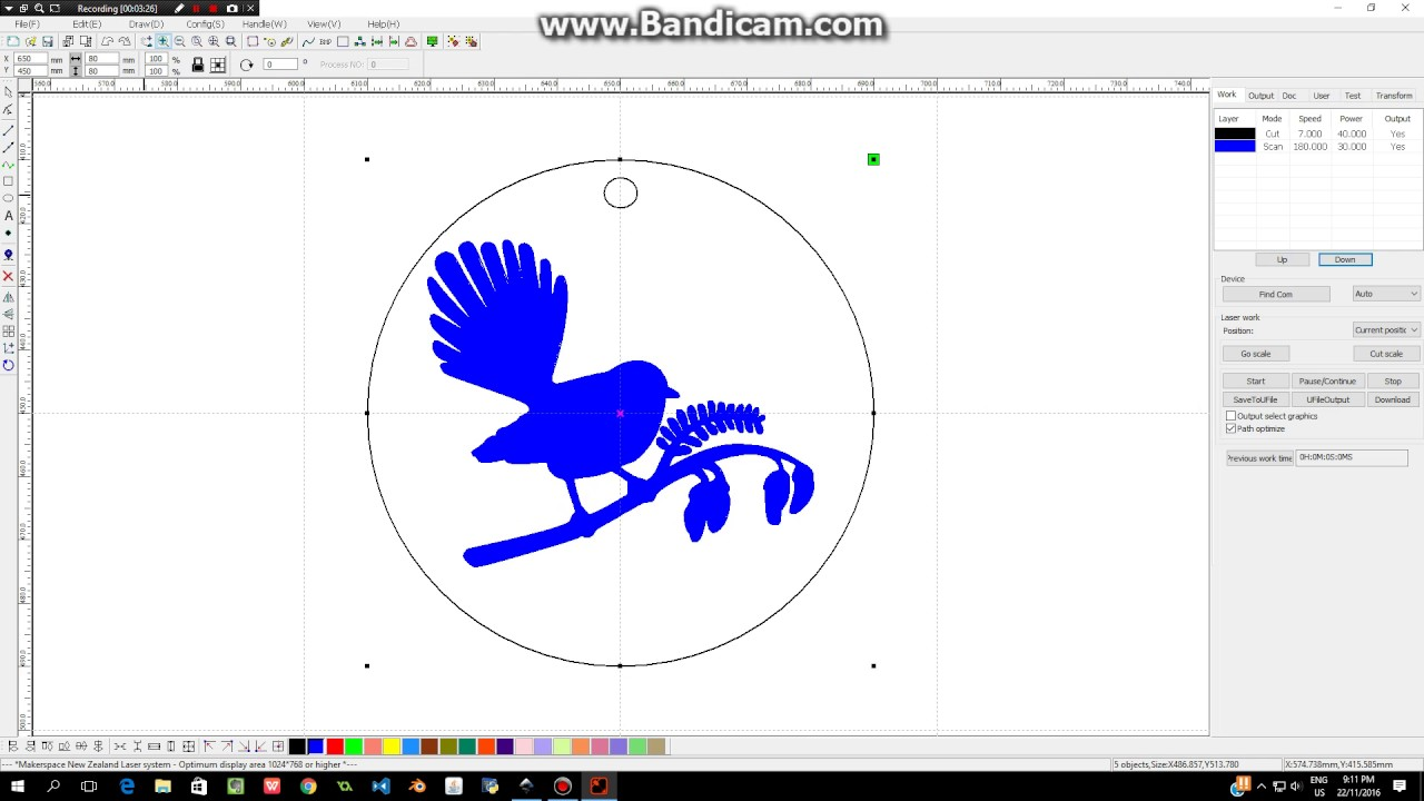 Transferring your dxf file into the laser cutter software ...