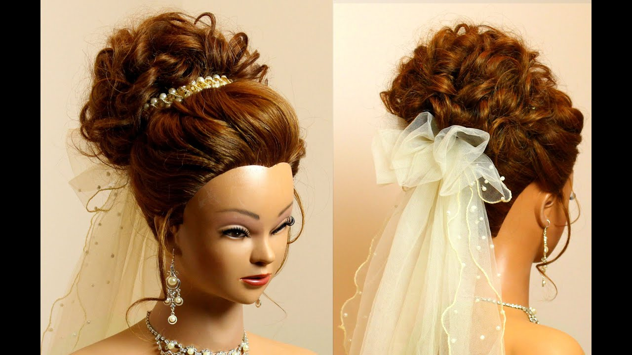 bridal hairstyle for long medium hair tutorial. romantic wedding updo