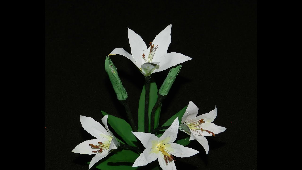 Recycled craft white lily flowers made with plastic can youtube izmirmasajfo