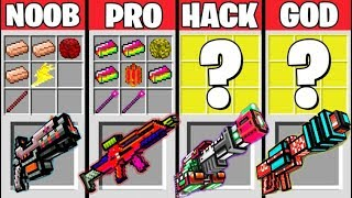 Minecraft Battle: SUPER GUNS CRAFTING CHALLENGE - NOOB vs PRO vs HACKER vs GOD / Animation