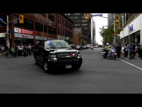 President of China Motorcade on Bank Street Ottawa